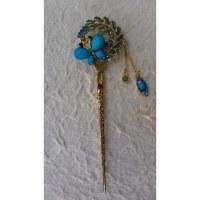 Pic à cheveux strass papillon et fleur bleus