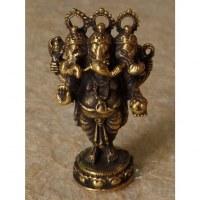 Miniature dorée Ganesh à 3 têtes