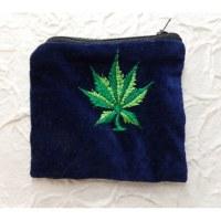 Porte monnaie velours bleu foncé feuille verte