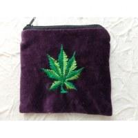 Porte monnaie velours violet feuille verte