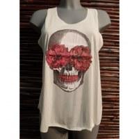Débardeur tête de mort flower skull rouge