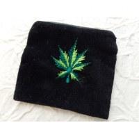 Porte monnaie velours noir feuille verte