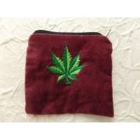 Porte monnaie velours prune feuille verte