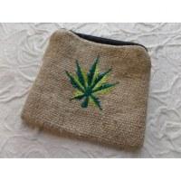 Petit porte monnaie feuille verte 2 couleurs