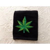 Portefeuille noir feuille verte