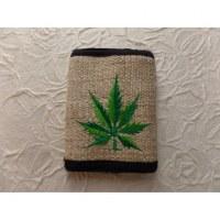 Portefeuille chanvre feuille verte