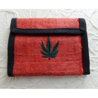 Portefeuille rouge brodé feuille