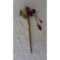 Pic à cheveux strass violet 2 papillons