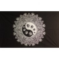 Tenture yin yang mandala leaf