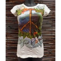 Tee shirt blanc peace and love