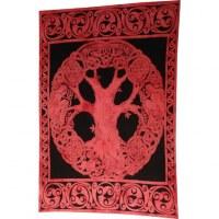 Tenture arbre de vie celte marbré rouge