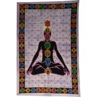 Tenture 7 chakras strié violet