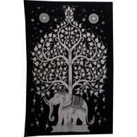 Tenture noir et blanc arbre de vie et éléphant