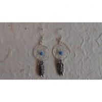 Boucles d'oreilles attrapes rêves 14 perle bleue