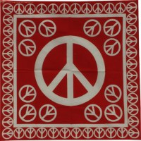 Bandana peace and love rouge/blanc