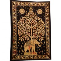Tenture orange arbre de vie et éléphant