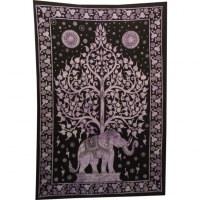 Tenture mauve arbre de vie et éléphant
