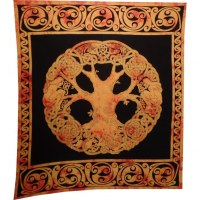 Tenture maxi arbre de vie celte orange/noir
