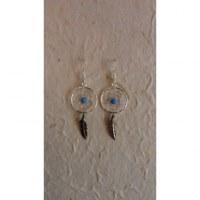 Boucles d'oreilles attrapes rêves 15 perle bleue