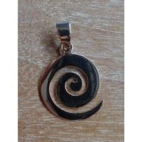 Pendentif spirale plate en argent