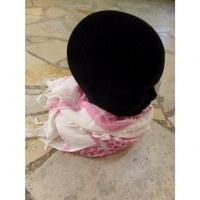 Foulard Riyad carreaux blanc/rose pâle