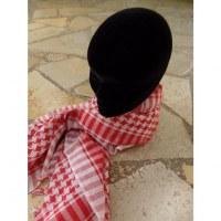 Foulard Riyad carreaux blanc/rouge