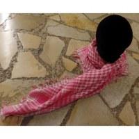 Foulard Riyad carreaux blanc/rose dragée