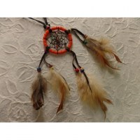 Collier dreamcatcher orange Kaws