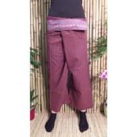 Pantalon Myanmar lie de vin