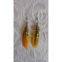 Boucles d'oreilles tite plume jaune