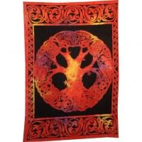 Tenture arbre de vie celte rouge feu