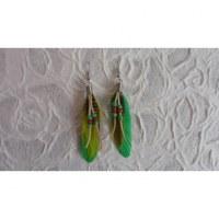 Boucles d'oreilles tite plume vert fluo
