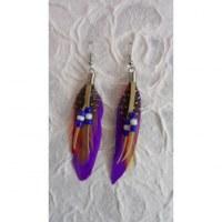 Boucles d'oreilles tite plume violette