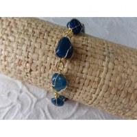 Bracelet en perles agate bleue