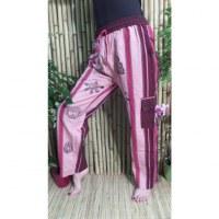 Pantalon Thamel rose/bordeaux