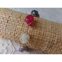 Bracelet en perles pierres naturelles colorées