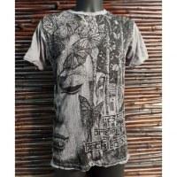 Tee shirt butterfly Bouddha gris clair