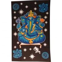 Tenture bleue Ganesh et son rat