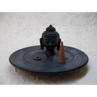 Porte encens noir/bleu tête de Bouddha