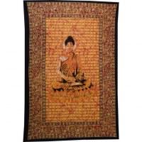 Tenture Bouddha zen orange