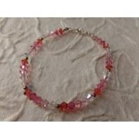 Bracelet perles cristal camaieu rose