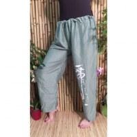 Pantalon vert émeraude Vientiane calligraphie chinoise