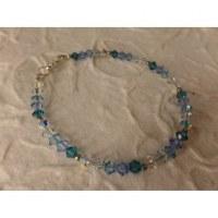 Bracelet perles cristal camaieu bleu