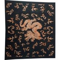 Tenture asian dragon noir et orange foncé délavé
