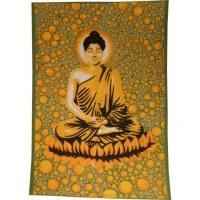 Tenture bulles Bouddha zen vert/jaune