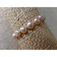 Bracelet perles corail rose nacré