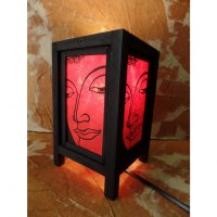 Lampe rouge Bouddha