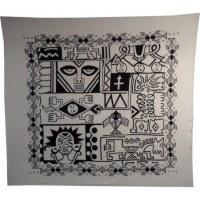 Maxi tenture patch totem noir et blanc