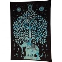 Tenture arbre de vie et éléphant bleu