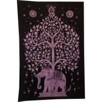 Tenture arbre de vie et éléphant mauve